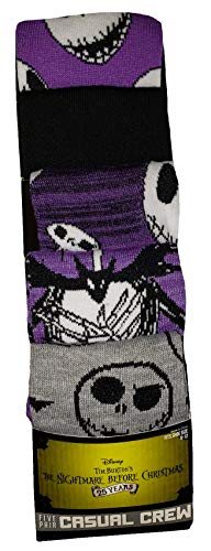 Bioworld Nightmare Before Christmas 5 Pair Casual Crew Socks, Multicoloured, 8-12