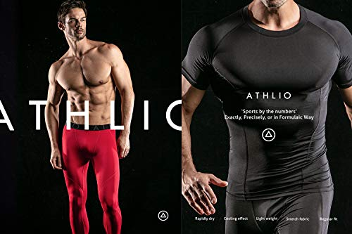 ATHLIO AO-BLS01-KCR_Large Men's (Pack of 3) Cool Dry Compression Long Sleeve Baselayer Athletic Sports T-Shirts Tops BLS01 by ATHLIO (Image #7)