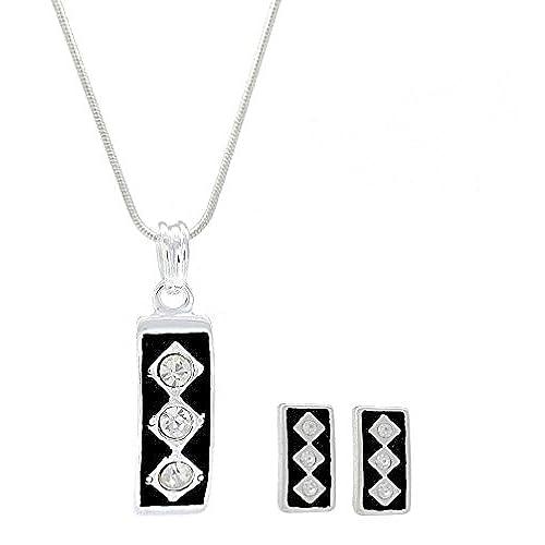 06a804c648dd Esmalte negro Triple cristal diamante pendientes con forma de Y collar  conjunto - fiesta