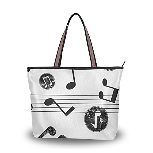 Tote Bag With Distressed Music Notes Artistic Print Shoulder Bag Handbag Travel Shopping Picnic Beach