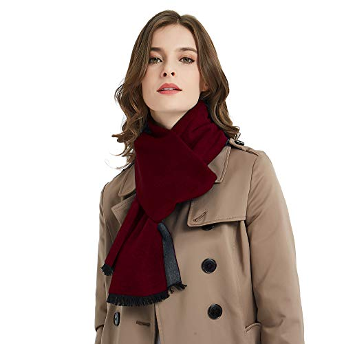 (CUDDLE DREAMS Women's Silk Scarves for Winter, 100% Mulberry Silk Brushed, Luxuriously Soft (2 Tone- Burgundy/Gray))