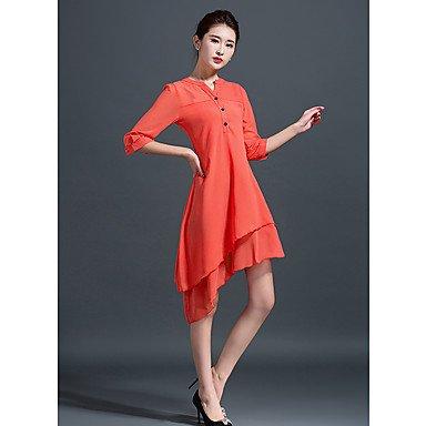 PU&PU Robe Aux femmes Trapèze Simple / Street Chic,Couleur Pleine Col en V Midi Soie , orange , s