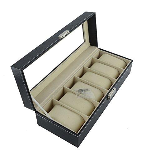 Feibrand Uhrenbox für 6 Uhren Faux Leder mit Schlüssel
