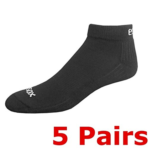 Sport Socks Anklet Set of 5, made from bamboo viscose. (Large (10-13) Solid Black)