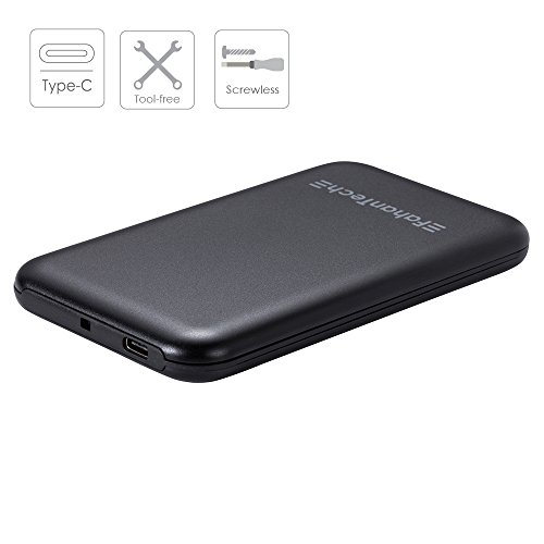 """FahanTech Simple Storage Series USB3.1 Type-C External Hard Drive Enclosure for 2.5"""" Laptop SATA Hard Drives and SSD. Anodized Aluminum Case Material/Super Compact Size"""