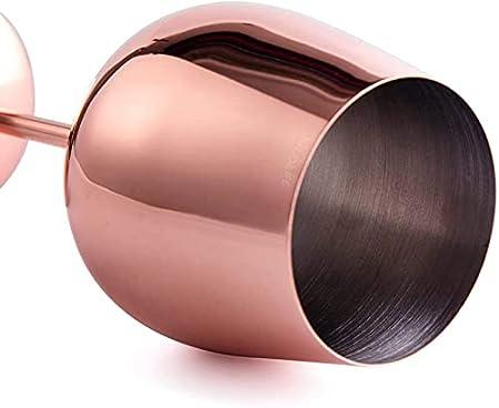 Pack de 2 copas de vino de acero inoxidable de cobre, copas de metal, copas de cóctel, oro rosa, 17 onzas (oro rosa)