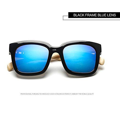 Highdas Mujer Bamb¨² Shades Hombre de negro Gafas Brazo Oversized Madera Azul de Sol rFqrwH8x