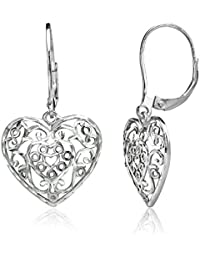Sterling Silver Diamond-cut Filigree Heart Dangle Leverback Earrings