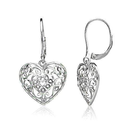 (Sterling Silver Diamond-cut Filigree Heart Dangle Leverback Earrings)