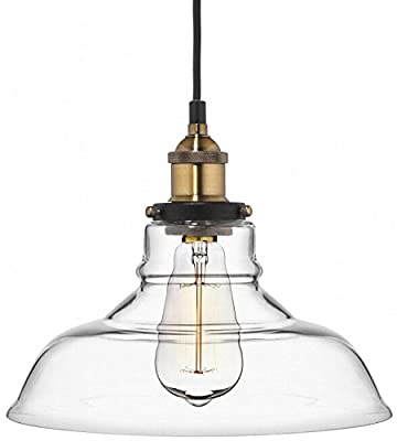 Deneve Clear Glass Shade Pendant Light Brass Ceiling Fixture