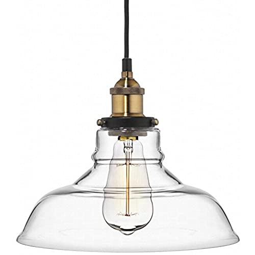 Charmant Farmhouse Clear Glass Shade Ceiling Pendant Lighting, Kitchen Chandelier  Style With Brass Fixture By Deneve