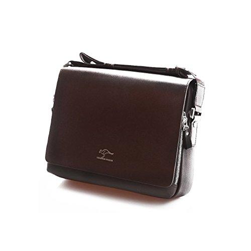 Pixnor Men's Shoulder Bag PU Kangaroo Kingdom Messenger Bag Size L Brown