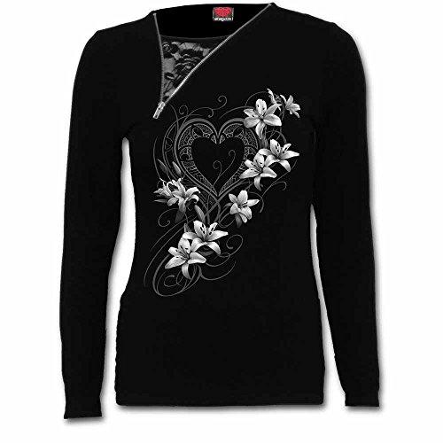 of Nero Donna Manica Spiral Pure Nero Lunga Heart qwA4w5x6F