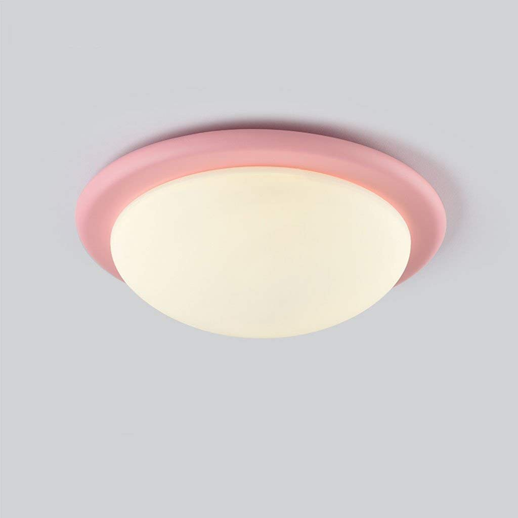 AEXU Exquisito Lámparas, Nordic Color Macarons Iron Art LED LED LED Ceiling Light Dormitorio Moderno Simple Round Restaurant Ceiling Lamp (Color: Rosa) 103093