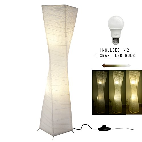 Steel Paper Floor Lamp - LED Floor Lamp With White Rice Paper Shade Modern Design 53 Inch, Colour Changing, 2 Bulbs Tall Standing Floor Lamps Light Perfect for Living Room Office Bedroom Warm Atmosphere (10x10x52inch)