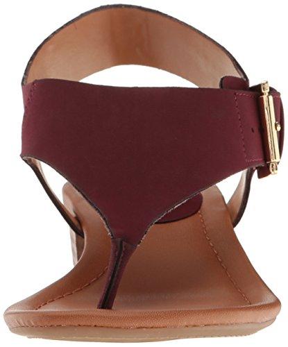 Tommy Hilfiger Frauen Kitty Offener Zeh Leger T-Strap Sandalen burgunderfarben