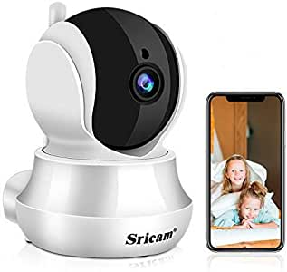 Sricam Cámaras de Vigilancia WiFi Interior 1296P, Cámara IP Intercomunicador bidireccional, Visión Nocturna, Detección de Movimiento, Monitor para casa, bebé y Mascotas, Compatible con iOS Android