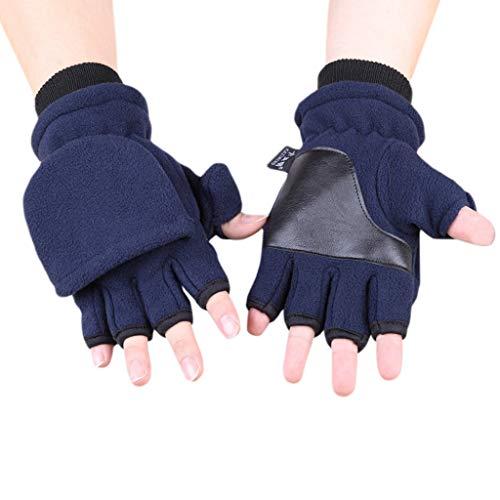Sixinu Women Men Winter Polar Fleece Half Finger Flip Gloves Double Layer Thicken Touch Screen Fingerless Convertible Mittens Wrist Warmer with Cover ()