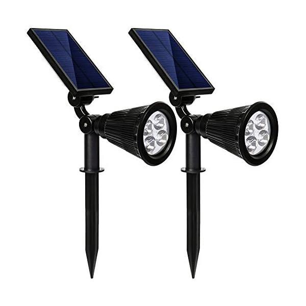 kaizein Solar Spotlights Outdoor, 2-in-1 Waterproof Solar Powered Lights Landscape Lighting Adjustable Wall Light, Solar Lights,Auto On/Off for Yard Garden Driveway Pathway Lawn Pool