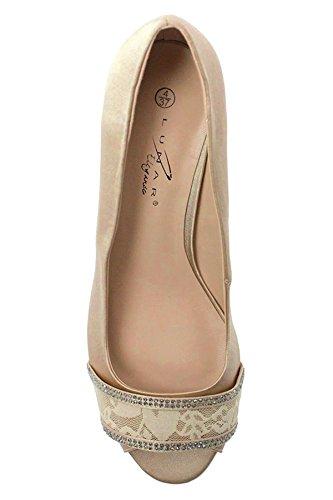 Sapphire Boutique flr419 CASELY Damen Peeptoe Smart Strass Spitze Hof Absatz Schuhe Clutch champagner (nur der Schuh)