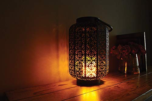 Boston Warehouse 52070 Wildfire Indoor/Outdoor Metal Lantern with LED Simulated Fire Base, 7.6