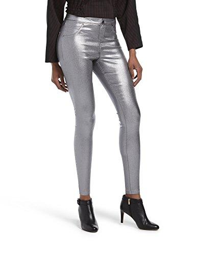 (HUE Women's Plus Size Fashion Denim Leggings, Assorted, Iridescent Metallic - Gunmetal,)
