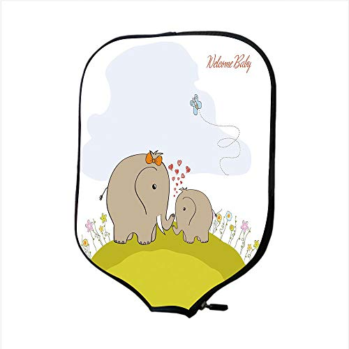 Neoprene Pickleball Paddle Racket Cover Case,Nursery,Baby Shower Inspired with Mother Baby Elephant Love Children Decorative,Cocoa Baby Blue Pistachio Green,Fit For Most Rackets - Protect Your Paddle