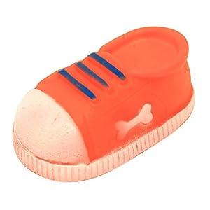 Plastic Dog Chew Toy Accessory Squeaker Sound shoe Sneaker Durable Orange by PetBuddyMart