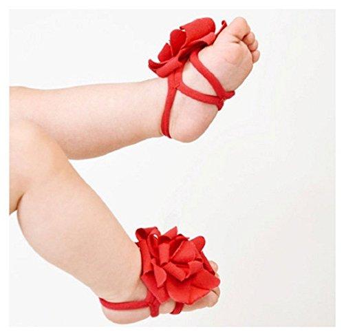 Ularma 0-12 M bébé bambin pour bébés filles Sock sandales Chaussures pieds nus chaussures fleurs (rouge)