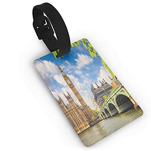 Luggage tag,London,Historical Big Ben and Westminster Bridge Fresh Spring Season Leaves Picture,Women's The Getaway Luggage Tag Blue Green Ivory