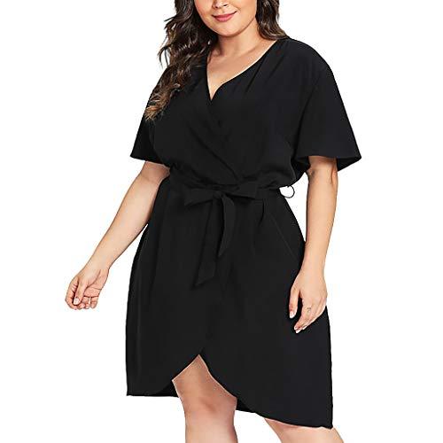 (OUBAO Plus Size for Women Maxi Dress Skirt Casual V-Neck Belt Bandage Solid Curved Hem Surplice Wrap Dress Black )