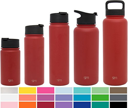 Simple Modern 18oz Summit Water Bottle + Extra Lid - Vacuum Insulated Stainless Steel Wide Mouth Hydro Travel Mug - Powder Coated Double-Walled Flask - Cherry Red