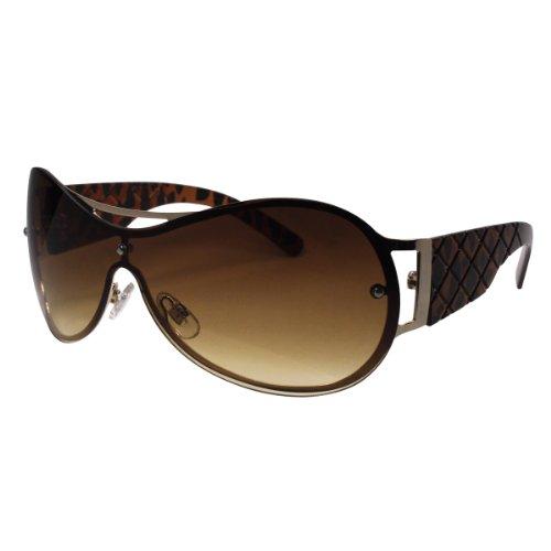 Rimless Sunglasses, Designer Style with Rhinestones, with Nice Case, Brown Cheetah - Cheap Nice Sunglasses