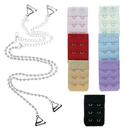 Clear Crystal Strap - kilofly Single Rhinestone Bra Straps Pack [Set of 1 Pair, Clear + 7 Bra Back Extender, 3 Rows x 2 Hooks]