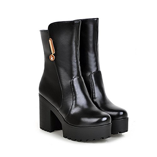 Leather Style Wheeled Metal Boots Ornament Preppy Shoes AdeeSu Black Imitated Womens Heel wqxICqz