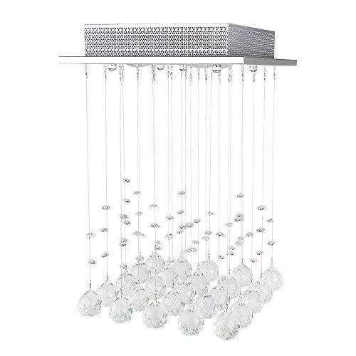 LED Ceiling Light Crystal Hanging Chandelier Modern Pendant Lamp Rain Drop Lighting with GU10 3 Lights Crystal Ball for Kitchen Hallway Living Room Bedroom 63 25 98 (cm)