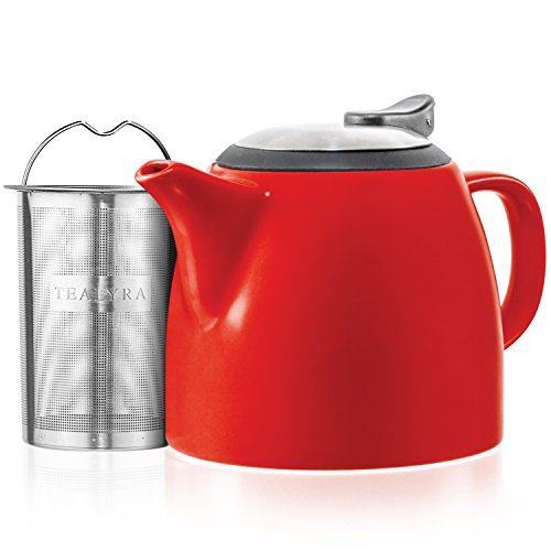 Tealyra - Drago Ceramic Small Teapot Red - 22oz (2-3 cups) - With Stainless Steel Lid and Extra-Fine Infuser for Loose Leaf Tea - Lead-free - 650ml ()