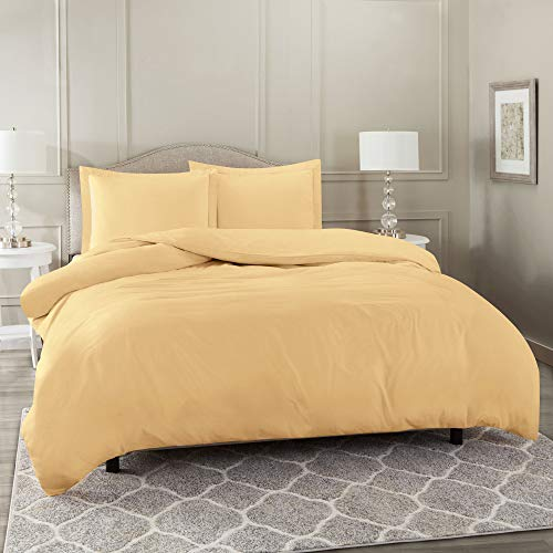 Nestl Bedding Duvet Cover 3 Piece Set - Ultra Soft Double Brushed Microfiber Hotel Collection - Comforter Cover with Button Closure and 2 Pillow Shams, Camel - Queen 90