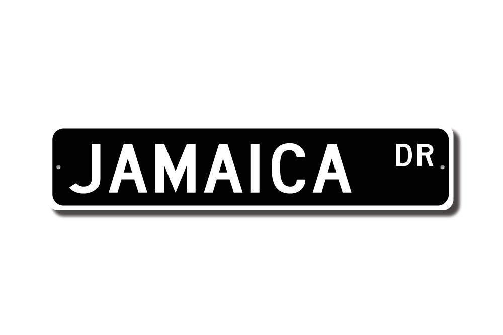 qidushop Jamaica Sign Jamaica Gift Jamaica Souvenir Sign Jamaica Keepsake Jamaica Wall Decor Jamaica Street Sign Novelty Metal Aluminum Sign for Men Home Decor