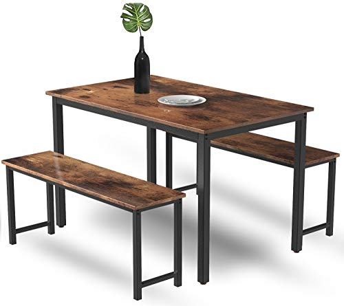 MIERES 3-Piece Dining Table Set for 4, Modern Breakfast Nook with Metal Frame and MDF Board, Kitchen Room with Chairs…