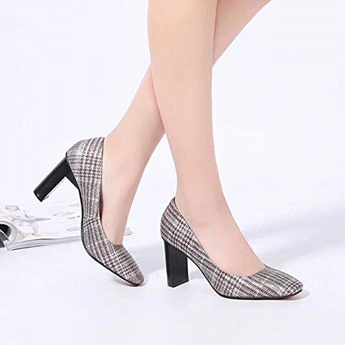 Zapatos con Cuadrados Zapatos Altos Cuero Japoneses de 35 Zapatos Tacones Ásperas Coreanos Verano Moda Mujeres Las Mujeres de Las Alta Y Y DIDIDD nbsp;Segundo de Primavera Calidad de de de adxpZqpw