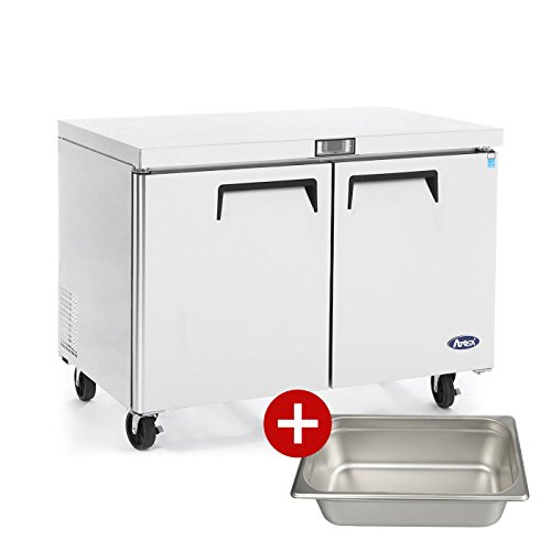 Commercial Undercounter Refrigerator,Commercial Large Beverage Cooler Fridge Center ATOSA MGF8403 Double 2 Door Stainless Steel Horizontal Refrigerators17.9 Cu.Ft.60W30D36.3H - Undercounter Refrigerator Commercial