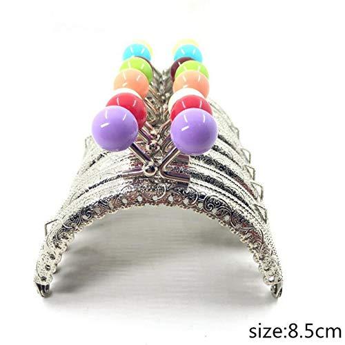 Buckes - 20pcs/10pcs 8.5CM Candy Head Bag Kiss Clasp Silver Semicircle Metal Coining Pattern Purse Frame DIY Bag Sewing Accessories AU518 - (Color: 30pcs)
