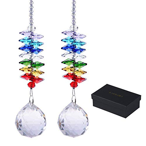 KARSLORA Glass Crystal Ball Prism Rainbow Maker Chakra Hanging Suncatcher Window Sun Catcher for Gift (Pack of 2)