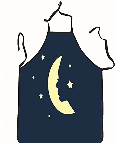 chanrancase tailored apron woman face in a shape of moon vector Children, unisex kitchen apron, adjustable neck for barbecue 17.7x26.6+10.2(neck) - Quiz Face Shape Men