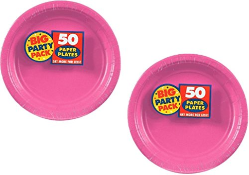 Amscan Big Party Pack 100 Count Paper Dessert Plates, 7-Inch, Bright Pink