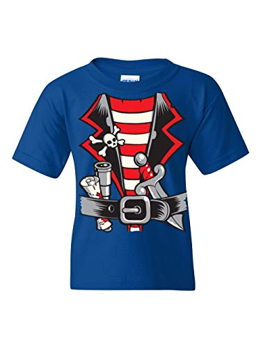 Pirate Birthday Party Halloween Costume Idea Jolly Roger Skull Crossbones Unisex Youth Kids T-Shirt (YSRB) Royal Blue -