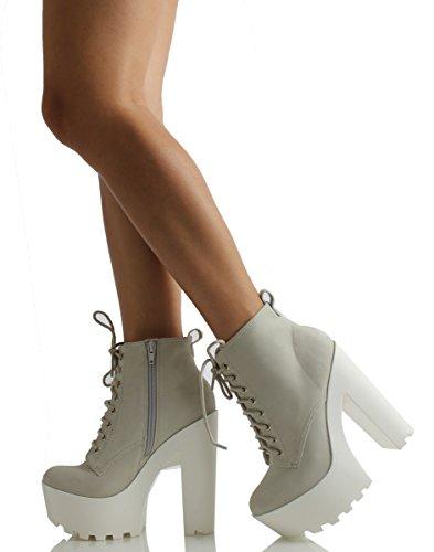 460fdbe3ecba3 Soda Women's Gru Faux Leather Lace-Up Thick Platform Chunky Heel Lug Ankle  Bootie, Ice, 11 M US: Amazon.ca: Shoes & Handbags