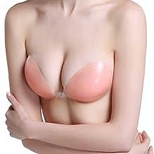 LANFEI Women's Reusable Nu Bra Self Adhesive Silicone Invisible Push-up Bra