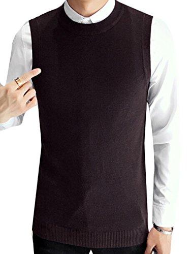 GAGA Men's Round Neck Solid Color Knit Vest Coffee L Round Neck Vest